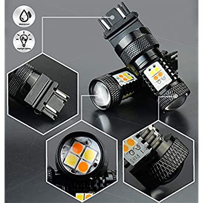 JDM ASTAR Extremely Bright 3030 Chipsets White/Yellow 3157 3155 3457 4157 Switchback LED Bulbs with Projector For Turn Signal Lights: Automotive