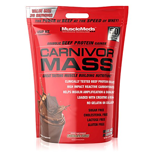 MuscleMeds Carnivor Mass Anabolic Beef Protein Gainer, Chocolate Fudge, 10 Pounds
