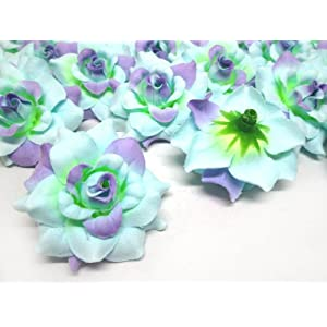 "(100) Silk Blue Purple Roses Flower Head - 1.75"" - Artificial Flowers Heads Fabric Floral Supplies Wholesale Lot for Wedding Flowers Accessories Make Bridal Hair Clips Headbands Dress 2"