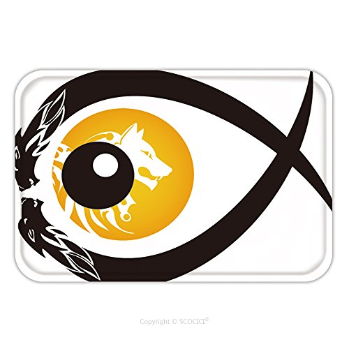 Flannel Microfiber Non-slip Rubber Backing Soft Absorbent Doormat Mat Rug Carpet Tribal Wolf Eye Symbol In The Form Of Fish 142237729 for (Tribal Eye Makeup)