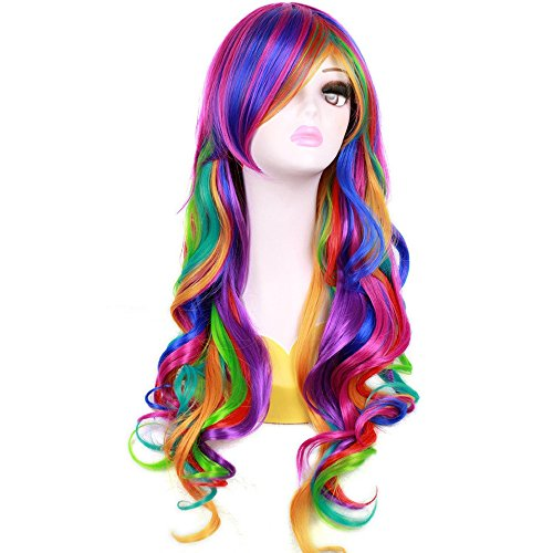 (BERON New Fashion Synthetic Women Girls Sexy Long Wavy Rainbow Multi Colorful Wig with Free Wig)