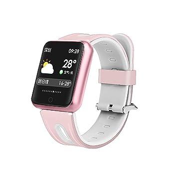 MRXUE Relojes Inteligentes Impermeable Monitor de Ritmo cardíaco para niños Mujeres Hombres Bluetooth podómetro para Android iOS Smartphone,Pink: Amazon.es: ...