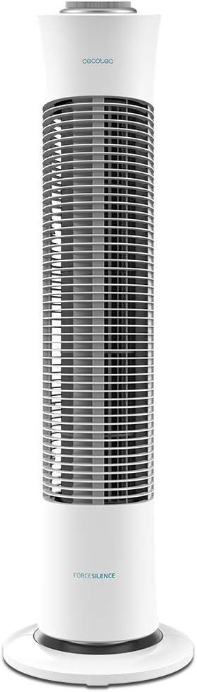 Cecotec Ventilador de Torre ForceSilence 6090 Skyline. 30'' (76cm) de Altura, Oscilante, Motor de Cobre, 3 Velocidades, Temporizador 2 Horas, 45 W
