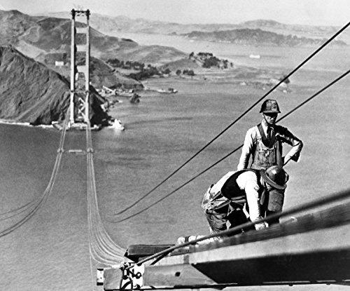 8 x 10 Photo Golden Gate Bridge Under Construction Up Top