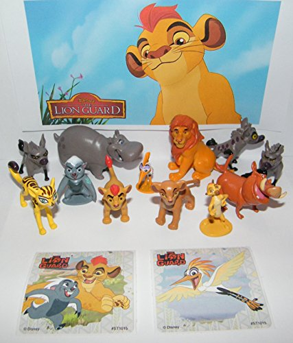 Disney The Lion Guard Deluxe Party Favors Goody Bag Fillers Set of 14 Figures and Stickers Featuring the Lion Guard Figures, Hyenas, Simba, Pumba, Simon and More!