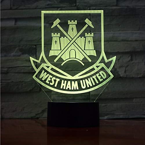 Lifme West Ham United Football Club 3D Optical Illusion Mood Light 7 Colors Change Luminary Lava Lamp Kids Night Light Novelty Gifts