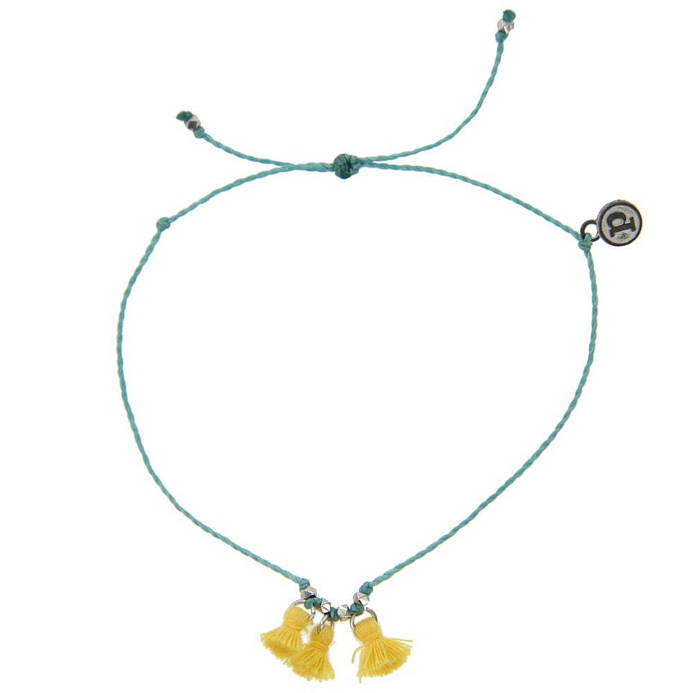 Pura Vida Silver Triple Tassel Aqua Anklet - Plated Brand Charm, Adjustable Band - 100% Waterproof