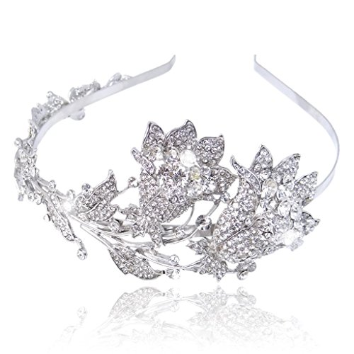 EVER FAITH® Wedding Leaf 2 Flower Bud Headband Clear Austrian Crystal