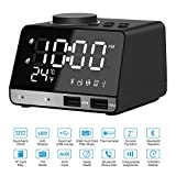 Alarm Clock Radio 4.2 Inch, Bluetooth Speaker with Dual USB Charger Port,AUX TF Card Play,Snooze,Thermometer, Large Dimmable LED Display for Bedrooms, Hotels, Kitchens, Tables and Offices