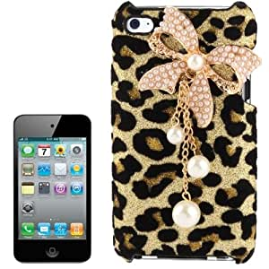 3D Pearl Bowknot Encrusted Leopard Pattern Shimmering Powder Plastic Case for iPod touch 4