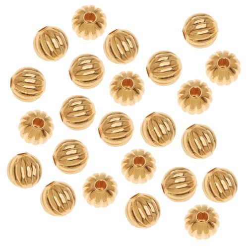 Approximately 6mm Round Beads (Beadaholique Fluted Round Metal Beads, 6mm, 22K Gold Plated)