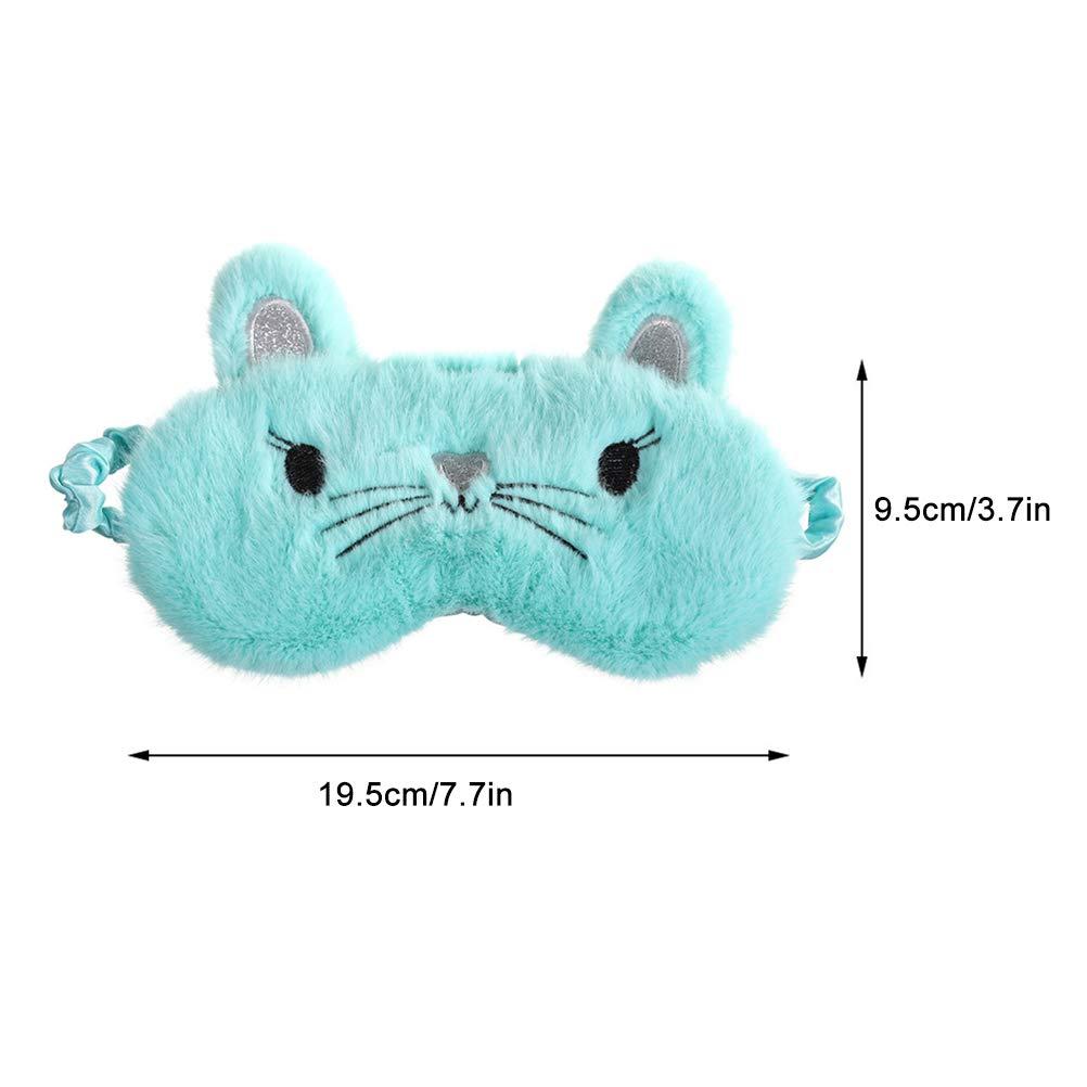 Knowooh Cute 3D Fluffy Animal Cat Eye Mask Reutilizable Eye Mask Night Mask Ajustable Rubber Band Sleeping Goggles Blanco