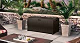 Home Storage Solutions, Resin Wicker Deck Box,Patio Cushion Storage And Garden Tools Organizer,Stay-Dry Design; 99 Gallon Storage, Color Brown