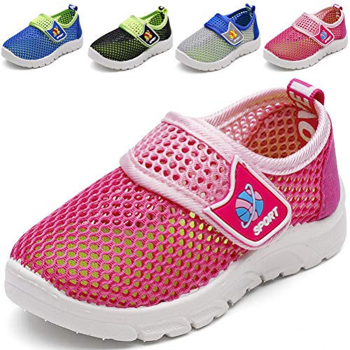 (DADAWEN Baby's Boy's Girl's Breathable Mesh Running Sneakers Sandals Water Shoe Rose Red US Size 9.5 M Toddler)