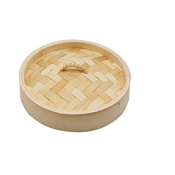 Küchenhandwerk, orientalischer zweischichtiger Bambusdampfer und Deckel aus der Welt,A,20cm/7.87inch