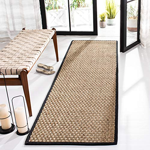 Safavieh Natural Fiber Collection NF114C Basketweave Natural and Black Summer Seagrass Runner (2'6