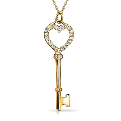 Bling Jewelry Italian Heart Key Pendant Sterling Silver Necklace 18 Inches o7YWbpub8
