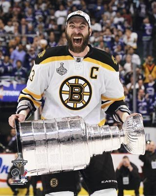 All About Autographs AAA-11599 Zdeno Chara Boston Bruins NHL 8x10 Photograph Stanley Cup Champs with Cup