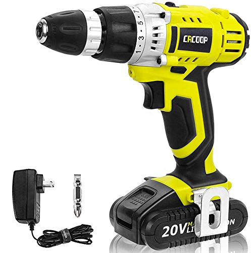 CACOOP Cordless Drill Driver, Variable 2-Speed, Compact, Lightweight, With One 20V MAX 1.5Ah Lithium Ion Battery Pack and One Rapid Charger, Model:CCD20001L
