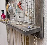 Rustic Wooden Wall Mount Jewelry Organizer for
