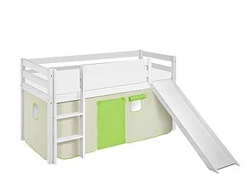Etagenbett Weiß Mit Rutsche : Lilokids spielbett jelle 90 x 190 cm grün beige hochbett weiß