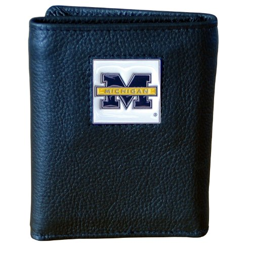 NCAA Michigan Wolverines Unisex Siskiyou SportsDeluxe Leather Tri-fold Wallet Packaged in Gift Box, Black, One Size