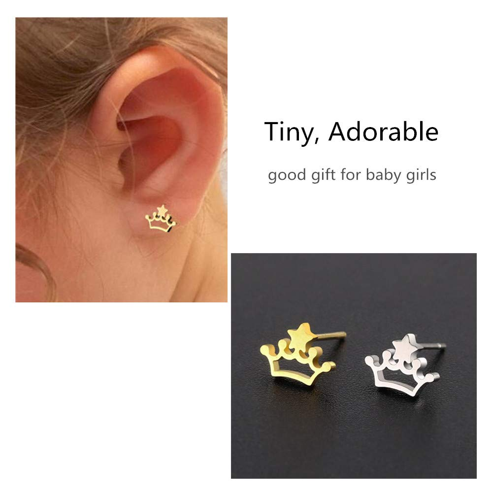 Princess Queen Crown Cartilage Helix Earrings Set of 3 Baby Girls Birthday Wedding Party Gift Stud Earrings Set for Women Teen 3 Pairs