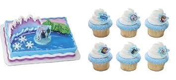 Amazoncom Disney Frozen Cake Topper PLUS 24 Cupcake Rings Toys