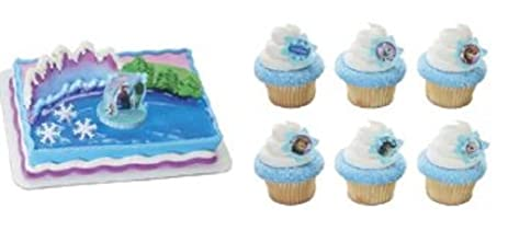 Amazoncom Disney Frozen Cake Topper PLUS 24 Cupcake Rings Toys
