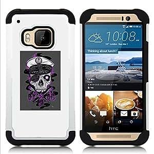 GIFT CHOICE / Defensor Cubierta de protección completa Flexible TPU Silicona + Duro PC Estuche protector Cáscara Funda Caso / Combo Case for HTC ONE M9 // Pirate Skull //