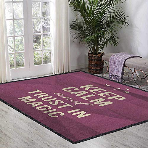 - Keep Calm Indoor Modern Area Rug,Keep Calm and Trust in Magic Quote on Purple Crumpled Paper Image with Frame Maximum Absorbent Soft Beige Plum 47