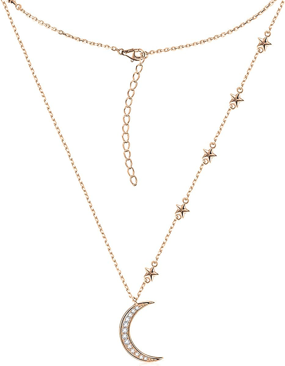 14ct Gold-Plated 925 Sterling Silver Moon Pendant Necklace D2 45cm // 18 inch