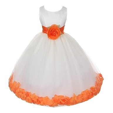 f3cc3baccbce Amazon.com  Little Girls Ivory Orange Floral Petals Organza Sash ...