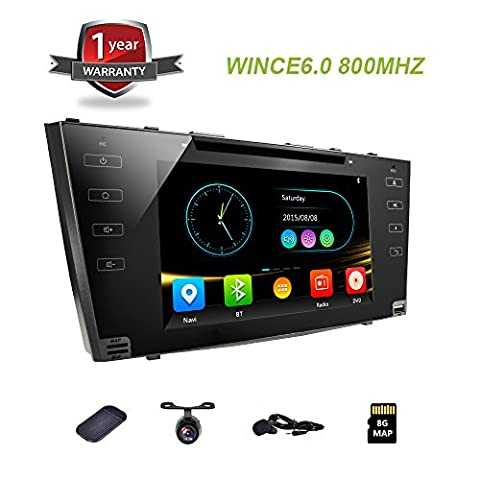 Car Head Unit Touchscreen Car Radio with Backup Camera GPS DVD Radio Navigation for Car Toyota Camry 2006-2011 8 inch Full Touch Screen Car Receiver 2 DIN Stereo BT Mirrorlink (2011 Camry Backup Camera)