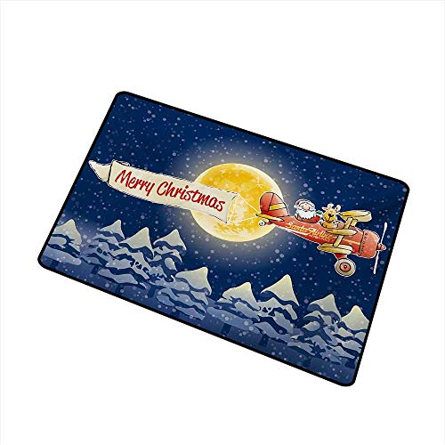 Becky W Carr Christmas Front Door mat Carpet Santa Claus Airline Theme Vintage Plane Full Moon Snow Covered Trees Machine Washable Door mat W15.7 x L23.6 Inch,Dark Blue Marigold Red