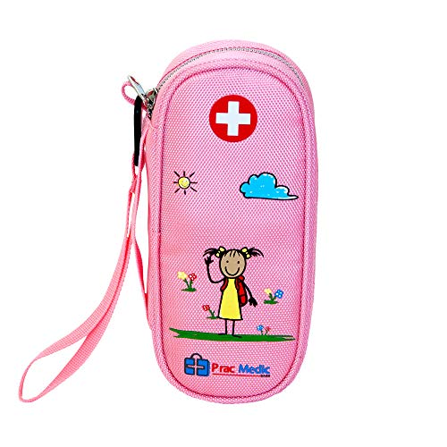 Epipen Case - PracMedic EPIPEN Case for Girls, Insulated - Holds 2 Epi Pens or Auvi-Q, Asthma Inhaler, Generic Benadryl Small, Nasal Spray, Eye Drops, Medicine, Syringes, or Ice Pack- Sold Empty (Pink)