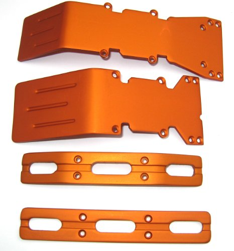 T-Maxx and E-Maxx Orange Anodized Skid Plate and Bumper (Plate Anodized Skid)
