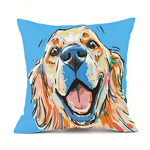 Redland Art Golden Retriever Dogs Throw Pillow Covers Cotton Linen Sofa Decorative Cushion Pillow Cases for Home Decor 18 X 18 Inch (Blue)