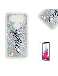 Funyye Glitter Liquid Case for LG V20,Stylish Multi-Coloured Sparkle Quicksand Silver Smile Design Ultra thin Transparent Shell Case for LG V20,Soft Flexible Silicone Gel TPU Bumper Back Cover Case for LG V20 + 1 x Free Screen Protector