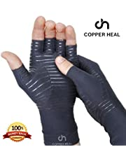COPPER HEAL Arthritis Compression Gloves - BEST Medical Copper Gloves GUARANTEED to work for Rheumatoid Arthritis, Carpal Tunnel, RSI, Osteoarthritis & Tendonitis - Open Finger (Extra Large)