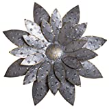 Red Co. Sunflower Dimensional Antique Tin Galvanized Metal Flower Petals Hanging Mounted Wall Décor Wreath, 20 Inches
