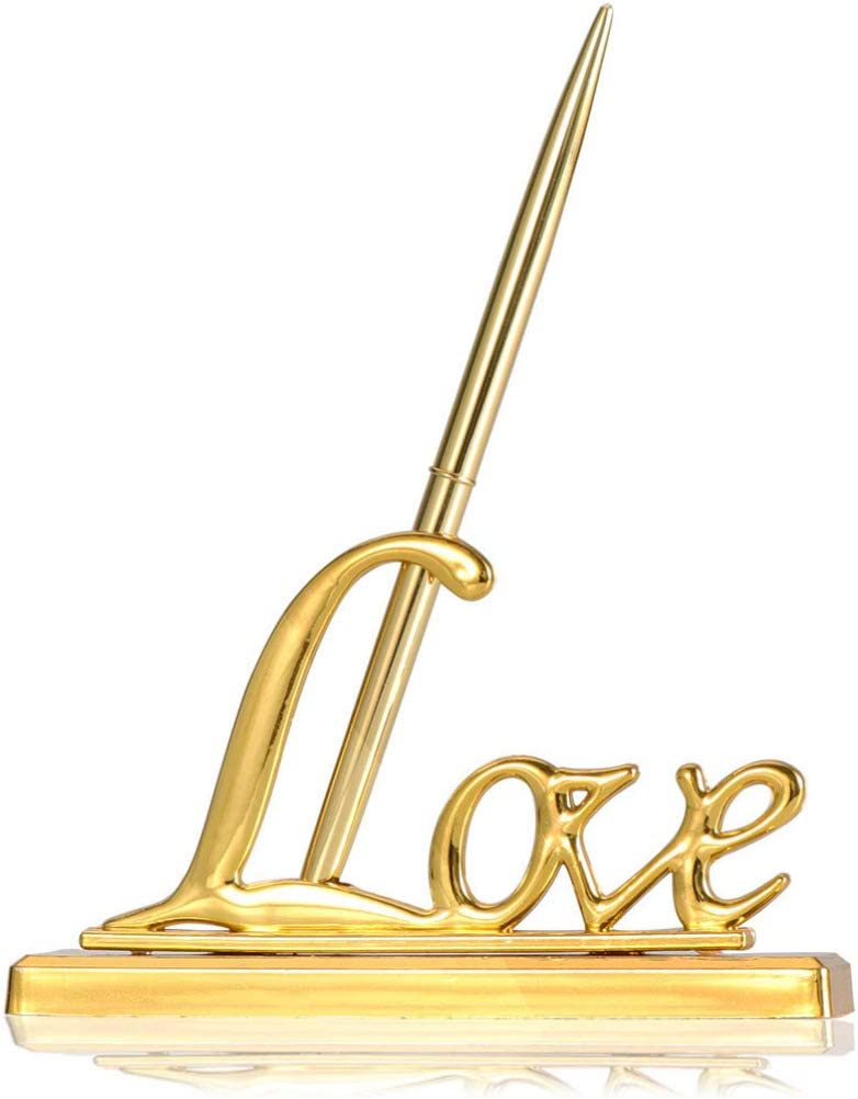 Tinksky Wedding Signing Pen with Gold Plated Metal Love Holder Party Pen Set Wedding Bridal Engagement Valentine's Day Favors (Gold)