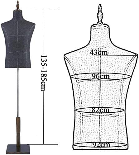 X-JIU Male Mannequin Torso Body Busts Dummy Model with Wood Base Shoes Pants Rack Dress Form Clothing Display