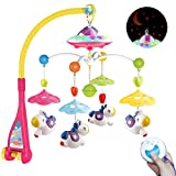 Mini Tudou Musical Baby Crib Mobile with Remote Control Cartoon Animal Rattles Projection Music Box for Newborn Baby Boys Girls (Fit Size 0.47-1.49 INCH)