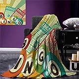 Anniutwo Vintage Travel Throw Blanket Bingo Game Ball Cards Pop Art Stylized Lottery Hobby Celebration Theme Velvet Plush Throw Blanket 60''x50'' Multicolor