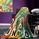 smallbeefly Vintage Lightweight Blanket Bingo Game Ball Cards Pop Art Stylized Lottery Hobby Celebration Theme Digital Printing Blanket 60''x36'' Multicolor