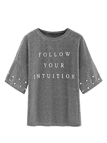 Romwe Women's Letter Printed Drop Shoulder Pearl Beading Glitter T-Shirt Top Silver XL (Top Print Glitter)