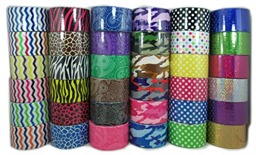 36 roll variety pack assorted printed duct tape 1.88'' x 5yrd Fun for children art by hnf shop