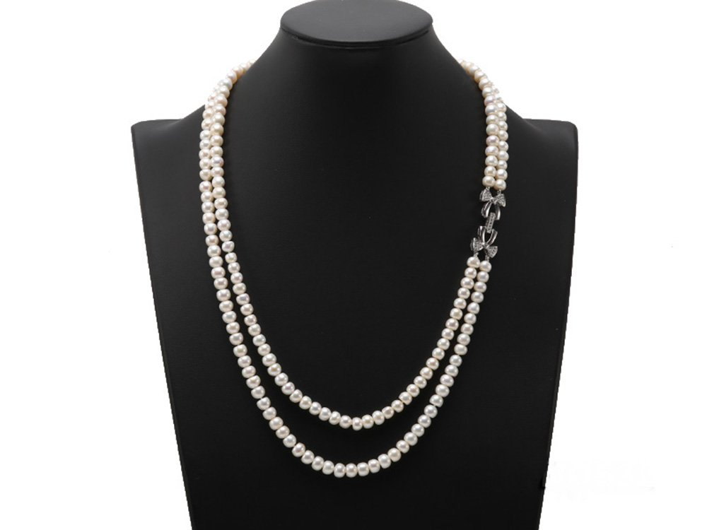 JYX Double-strand 7-7.5mm White Flatly Round Freshwater Pearl Necklace