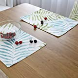 KathShop Plant Green Leaves Pattern Cotton Western Pad Placemat Insulation Dining Table Mat Bowls Coasters Kitchen Accessories